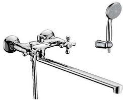 Смеситель Lemark Standard для ванны и душа универсальный с длинным плоским изливом