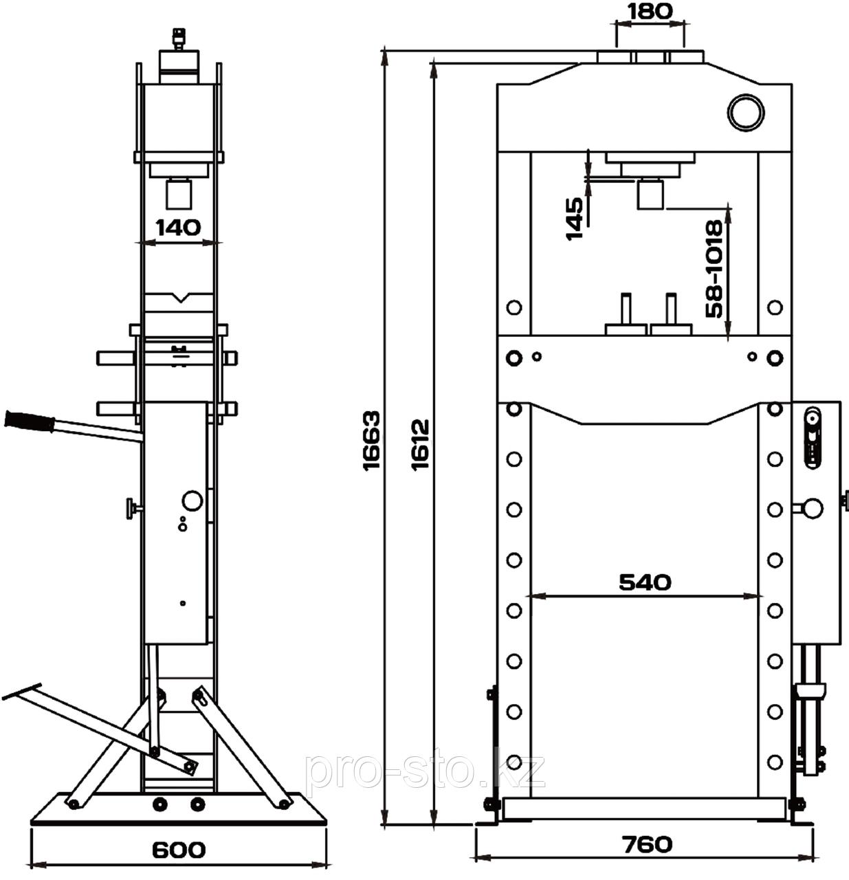 Пресс 30 тонн с ручным и пневматическим приводом KraftWell - фото 2