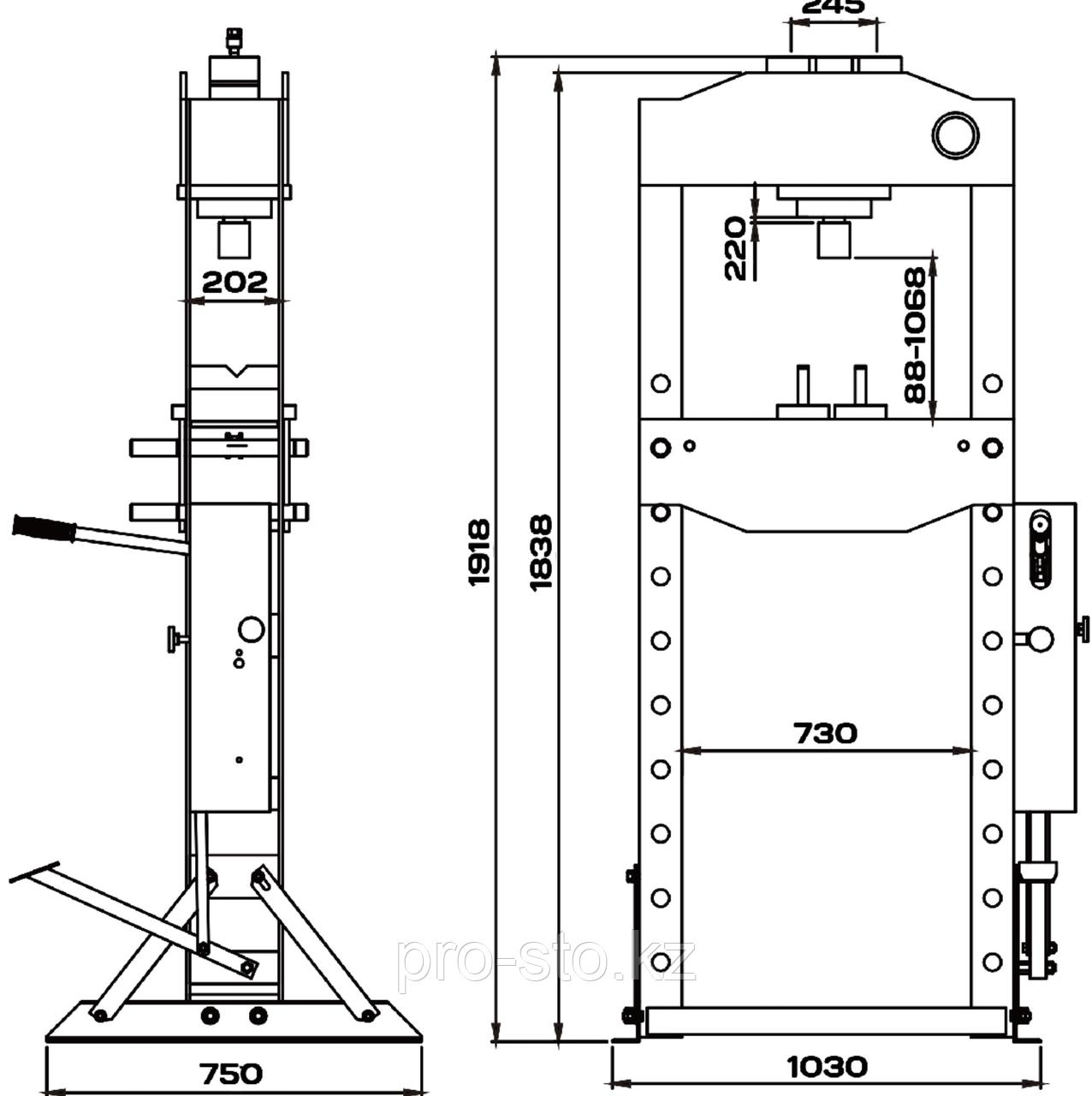 Пресс 50 тонн с ручным и пневматическим приводом KraftWell - фото 4