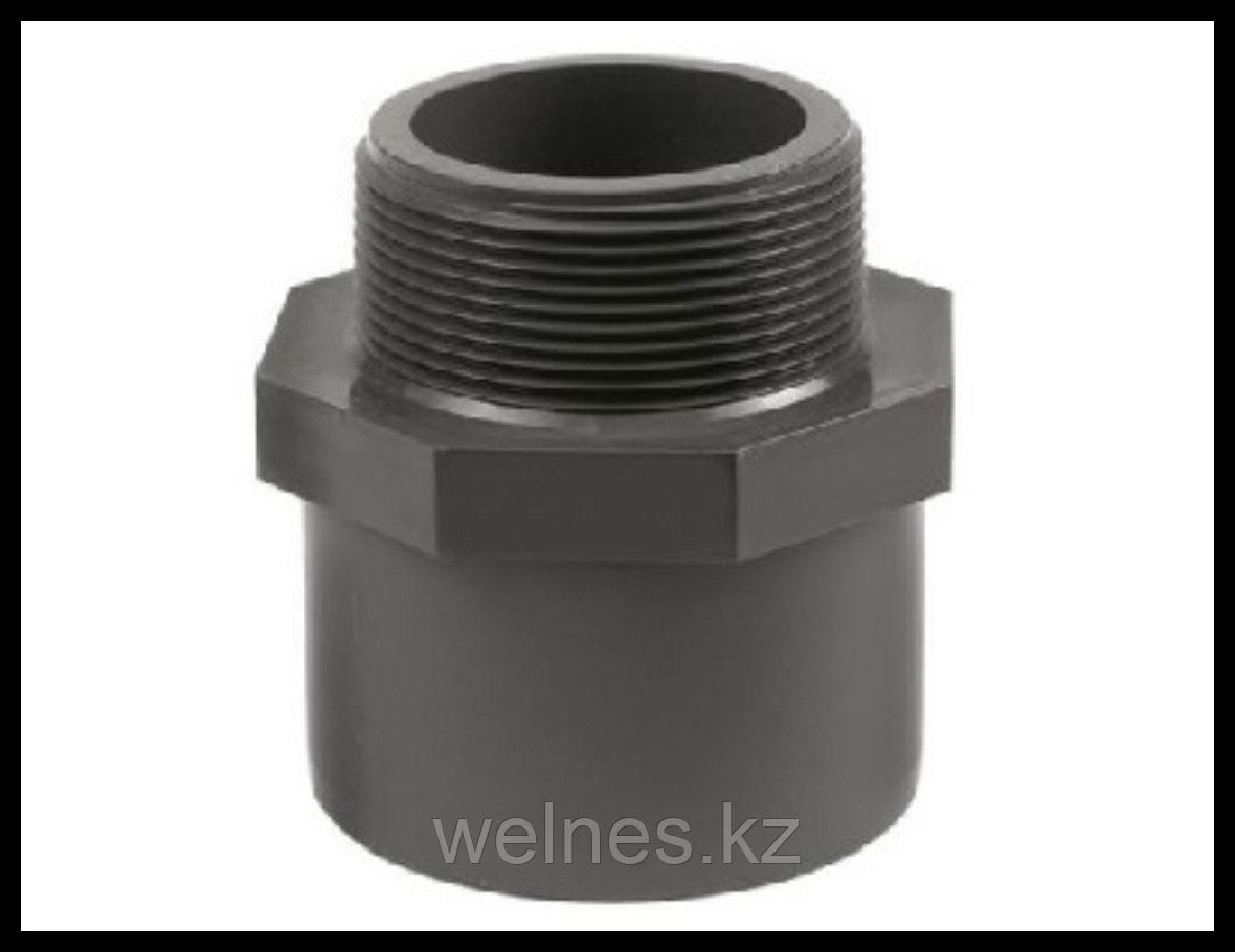 """Переход PVC, 63/75 мм х 1-1/2"""" наружняя резьба"""