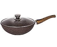 Сковорода-вок Мечта Granit Brown 28 см. со съемной ручкой и стекл.крышкой, фото 1