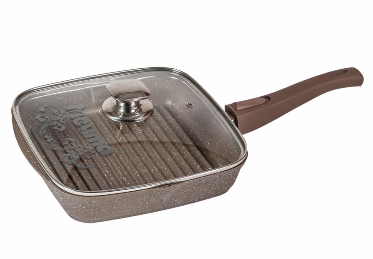 Cковорода-гриль Мечта Granit Brown 24 см. со съемной ручкой и стеклянной крышкой