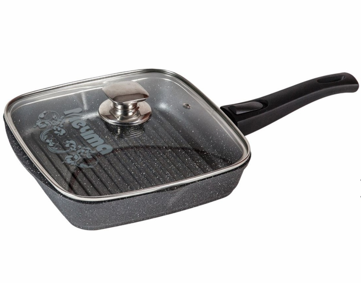 Cковорода-гриль Мечта Granit 28 см. со съемной ручкой и стеклянной крышкой