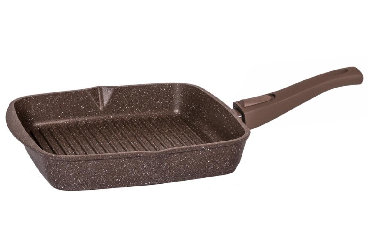 Cковорода-гриль Мечта Granit Brown 24 см. со съемной  ручкой