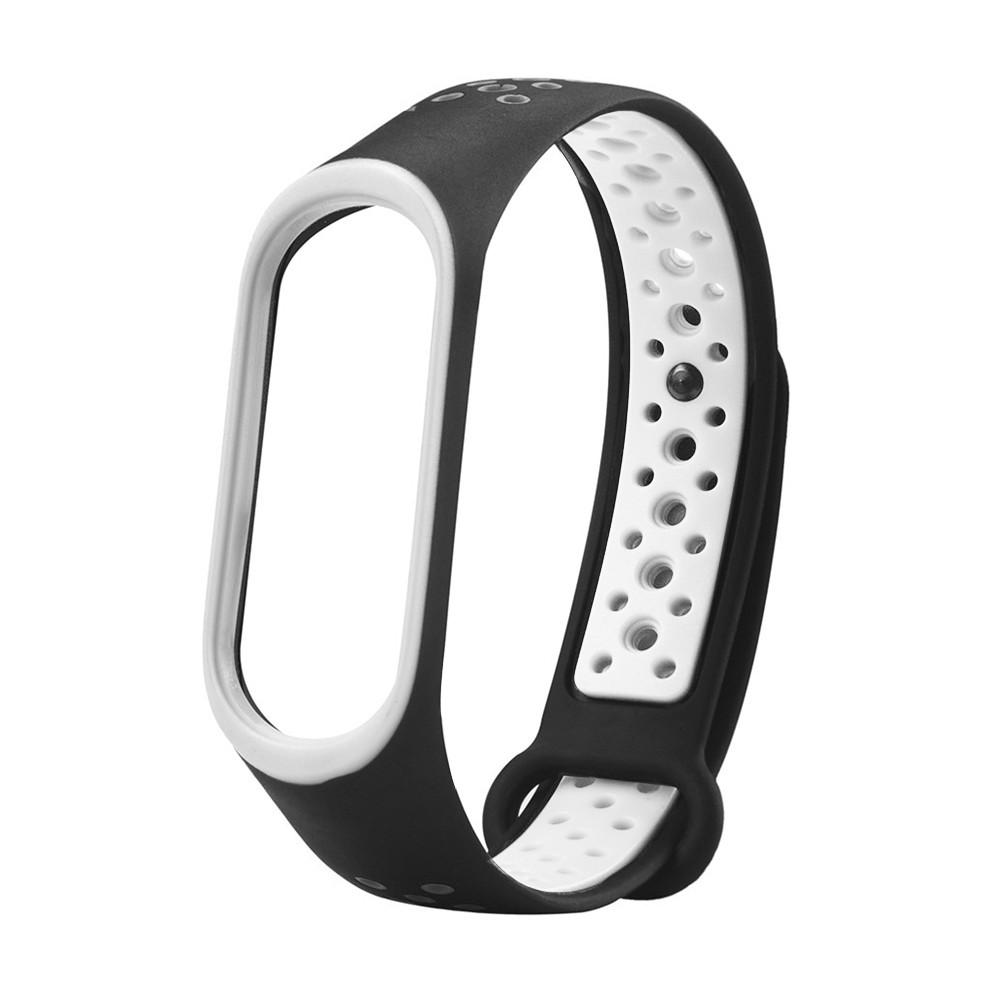 Ремешок для смарт-браслетов Xiaomi Mi Band 3/Mi Band 4, sports series silicone, Copy, White/Black