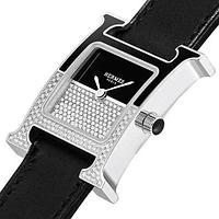 Часы женские наручные Hermes Heure H Double Jeu с инкрустацией стразами [реплика] (Черный в серебре)