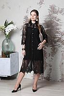 Женское осеннее кружевное черное нарядное платье Lejole 279 42р.