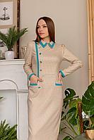 Женское осеннее платье Temper 358 оранжевый+бирюза 42р.