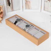 Подставка для часов, браслетов, 6 мест, 30*11*4,5 см, цвет серый
