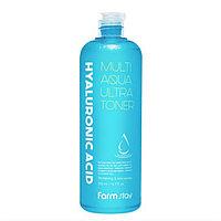 Тонер с гиалуроновой кислотой FARM STAY Hyaluronic Acid Multi Aqua Ultra Toner 500 ml.