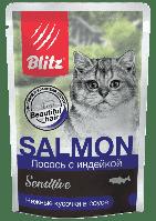 BLITZ Лосось с индейкой, кусочки в соусе, корм консерв. полнорац. для кошек 85гр