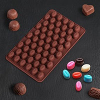 Форма для шоколада Доляна 'Кофейные бобы', 18,5x11 см, 55 ячеек