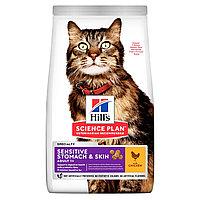 Hill's Sensitive Stomach & Skin для чувствительного пищеварения и кожи, курица, уп.1,5 кг