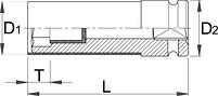 """Головка ударная 1/2"""" для легкосплавных колёсных дисков - 231/4P UNIOR, фото 2"""