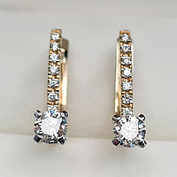 Золотые серьги с бриллиантами 0.75Ct SI2/K, фото 1