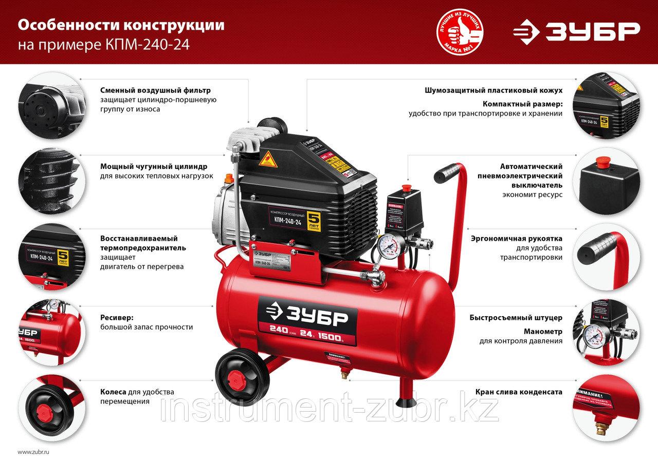 Компрессор воздушный с набором аксессуаров, 240 л/мин, 24 л, 1500 Вт, ЗУБР - фото 2