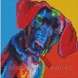 """Картины стразами на подрамнике """"Разноцветный щенок"""" 20х20см"""