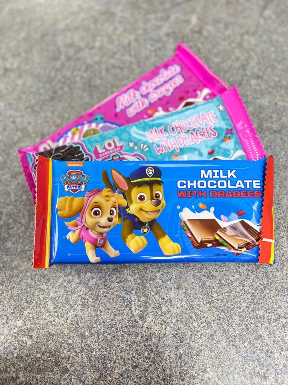 Шоколад молочный c разноцветным драже в ассортименте (LOL, щенячий патруль)