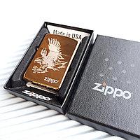 "Зажигалка ""Zippo"" золотистая ""Орёл"", в подарочной коробке., фото 1"