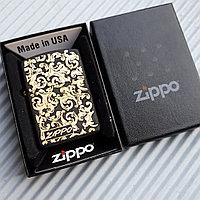 """Зажигалка """"Zippo"""" матовая с узорами, в подарочной коробке., фото 1"""