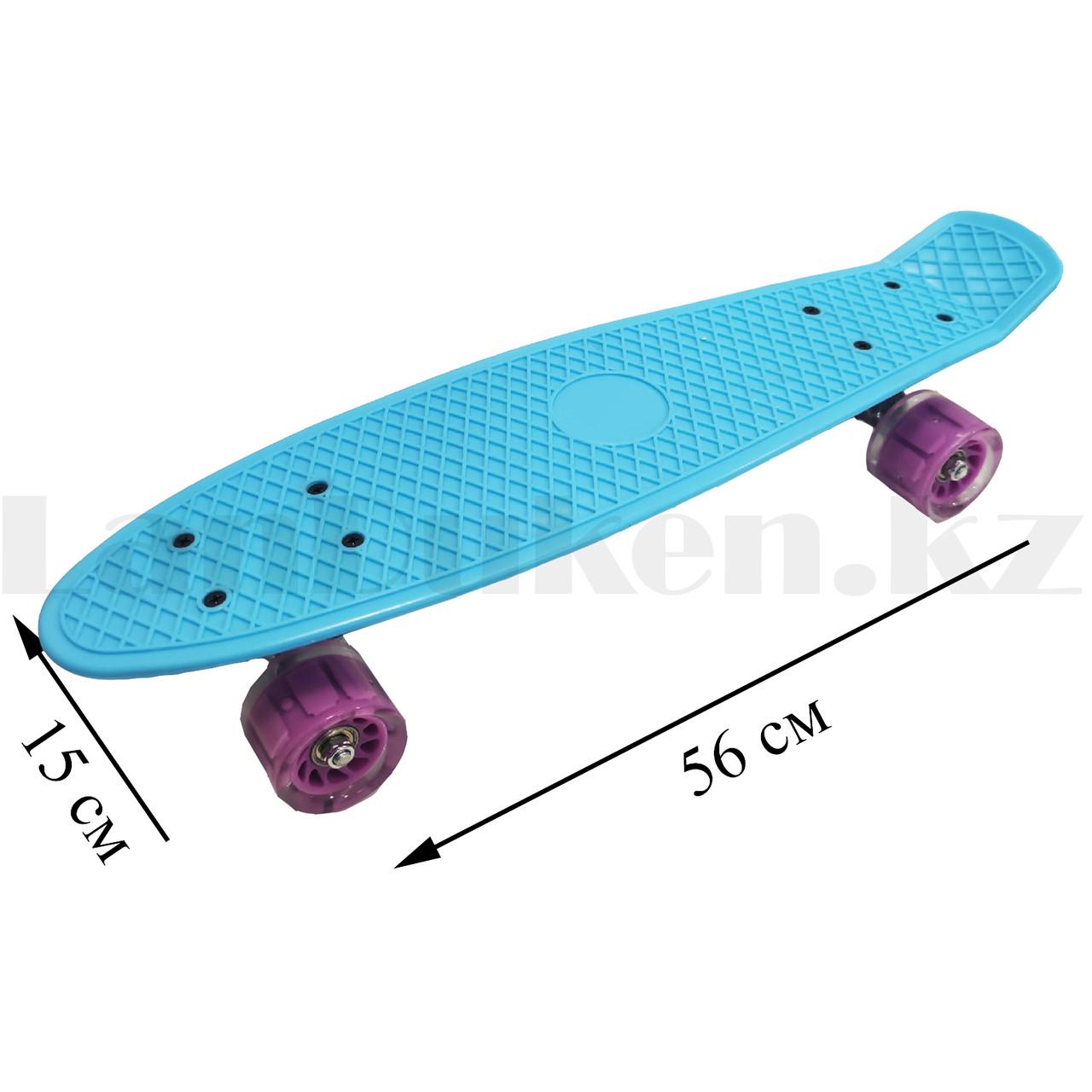 Пенни борд подростковый 56*15 Penny Board с гелевыми светящимися фиолетовыми колесами голубой - фото 2