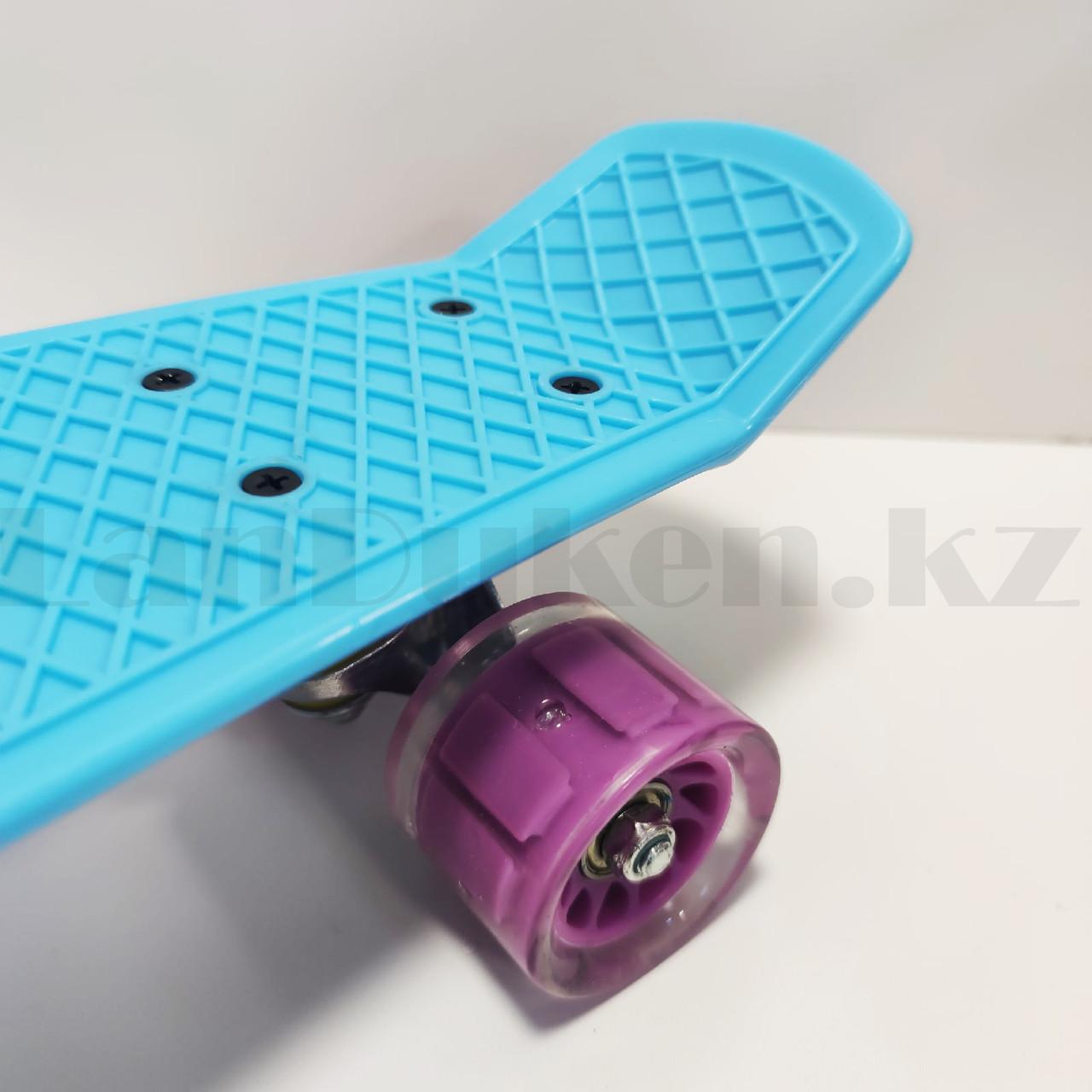 Пенни борд подростковый 56*15 Penny Board с гелевыми светящимися фиолетовыми колесами голубой - фото 4