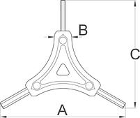 Ключ трехсторонний шестигранный - 1781/2HX UNIOR, фото 2