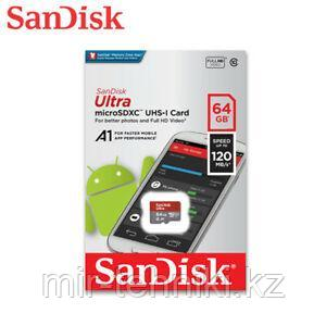 Карта памяти Sandisk Ultra microSDXC UHS-I 64GB 120MB/S