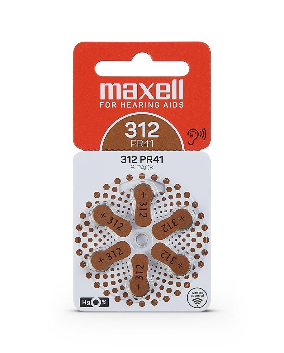 Батарейки для слухового аппарата 312 PR41 (312) 6шт/уп MAXELL