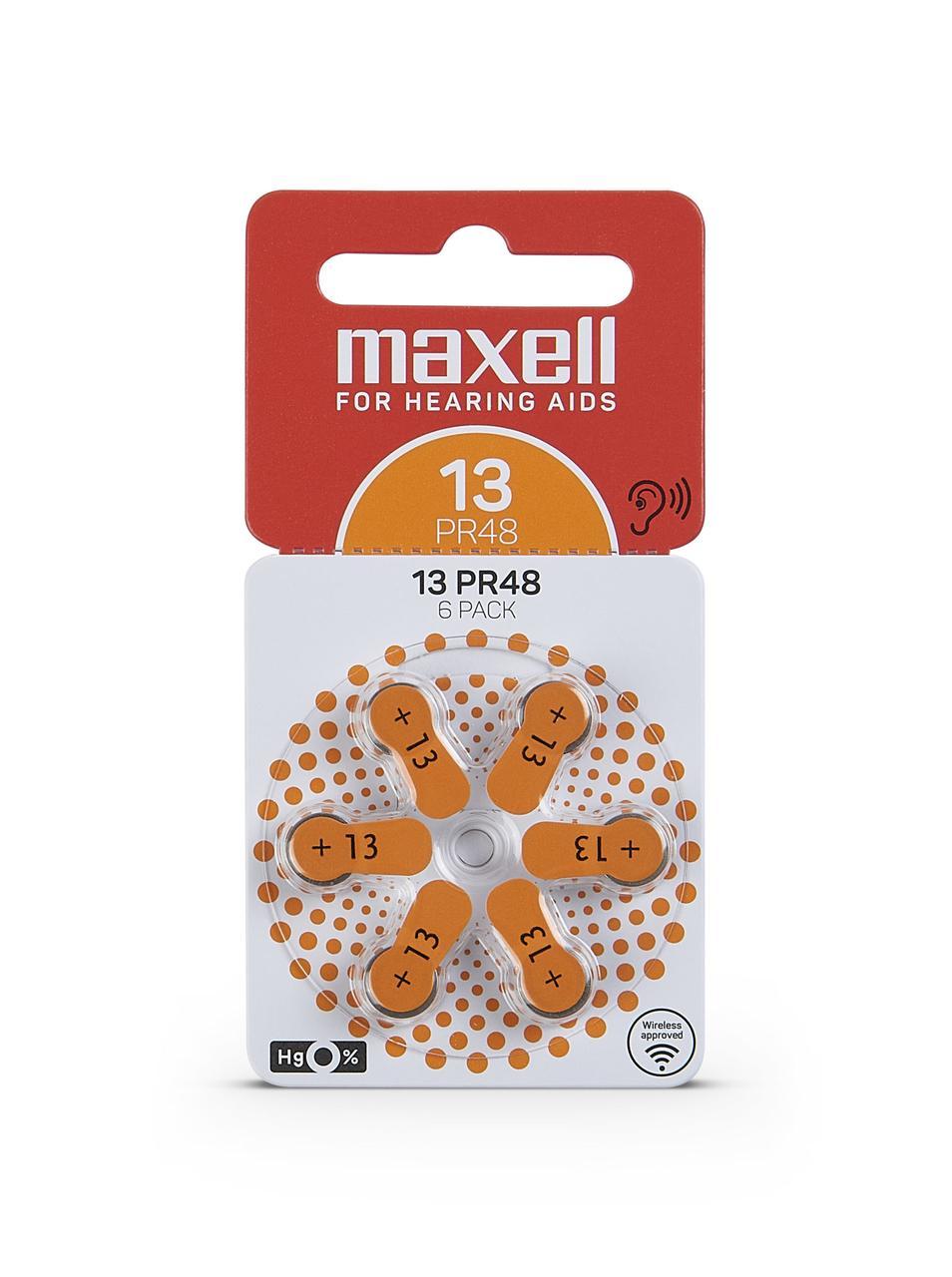 Батарейки для слухового аппарата PR48 (13) 6шт/уп Maxell