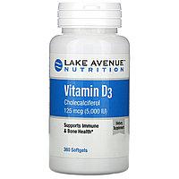 Lake Avenue Nutrition, витамин D3, 125 мкг (5000 МЕ), 360 капсул