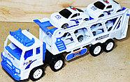 8858B Белый трейлер Police большой 4 полицейские машины 45*17, фото 2