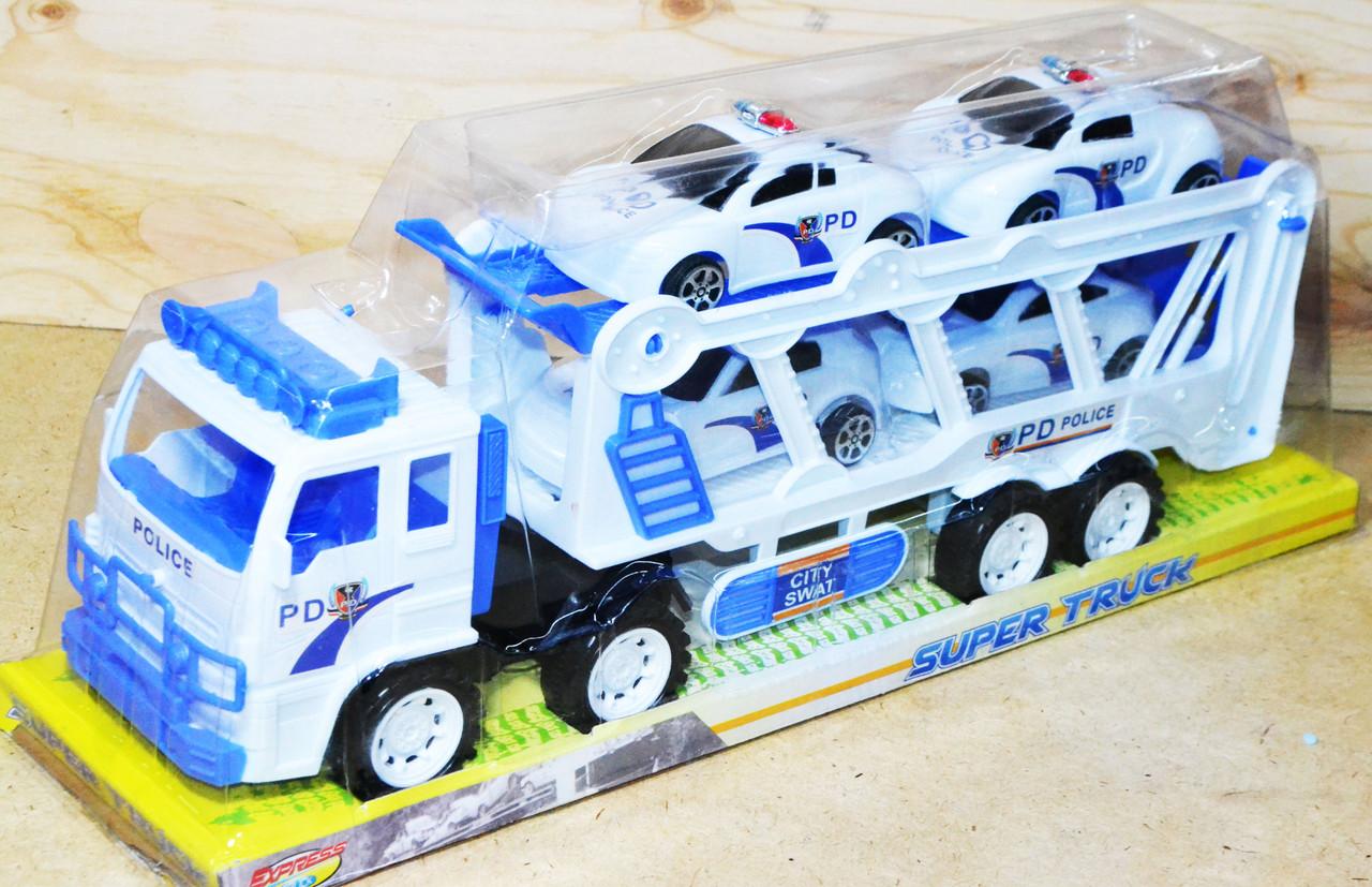 8858B Белый трейлер Police большой 4 полицейские машины 45*17