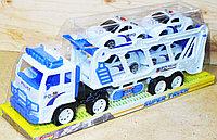8858B Белый трейлер Police большой 4 полицейские машины 45*17, фото 1