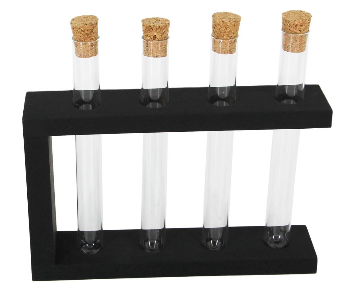 Деревянная подставка с пробирками для декорирования (4 пробирки), цвет черный