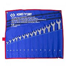 KING TONY Набор комбинированных удлиненных ключей, 8-24 мм, чехол из теторона, 14 предметов KING TONY 12A4MRN