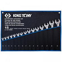 KING TONY Набор комбинированных ключей, 10-32 мм, чехол из теторона, 15 предметов KING TONY 12D15MRN
