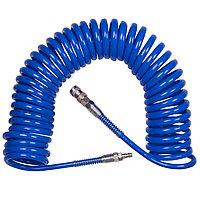 KING TONY Шланг пневматический спиральный высокого давления 8х12 мм, 10 м, полиуретановый, фитинги KING TONY