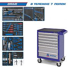 "KING TONY Набор инструментов ""DRIVE"" в синей тележке, 251 предмет KING TONY 934-251AMB"