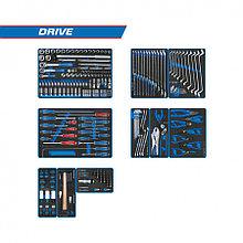 """KING TONY Набор инструментов """"DRIVE"""" для тележки, 10 ложементов, 251 предмет KING TONY 934-251MRVD"""
