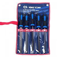 KING TONY Набор напильников 200 мм, двухкомпонентные рукоятки, 5 предметов KING TONY 1005GQ
