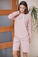 Женский осенний трикотажный розовый спортивный спортивный костюм Fantazia Mod 3876 пудра 50р.