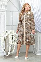 Женское осеннее шифоновое нарядное большого размера платье Ninele 7313 леопард 48р.