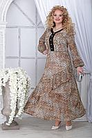 Женское осеннее шифоновое большого размера платье Ninele 7314 леопард 48р.