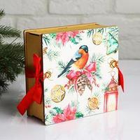 Коробка деревянная, 16.6x16.6x7 см 'Новогодняя. Снегирь', подарочная упаковка