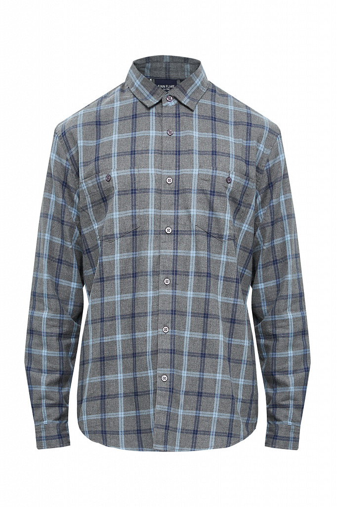 Рубашка мужская Finn Flare, цвет серый, размер L - фото 9