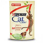 Cat Chow Adult для взрослых кошек, с говядиной и баклажанами в желе, пауч 85гр.