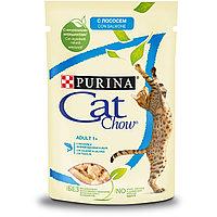 Cat Chow Adult для взрослых кошек, с лососем и зеленой фасолью в желе, пауч 85гр.