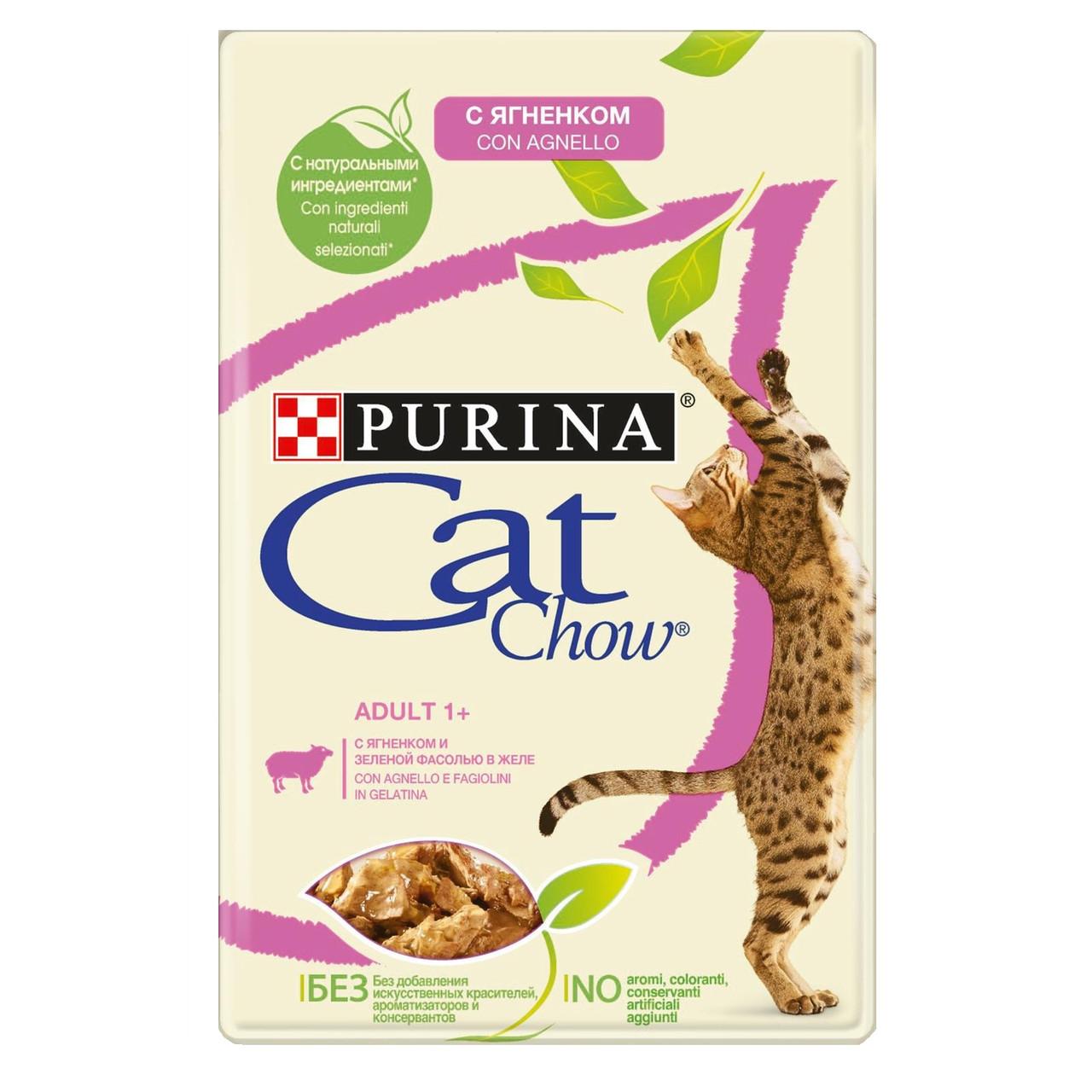 Cat Chow Adult для взрослых кошек, с ягненком и зеленой фасолью в желе, пауч 85гр.