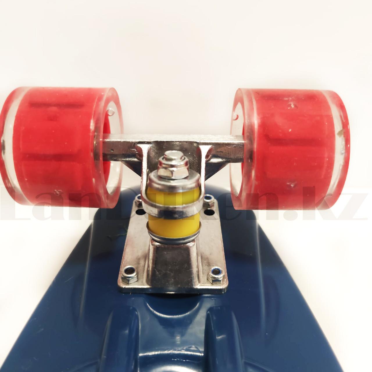 Лонгборд 59*16 Street Hit Волна с ручкой и со светящимися колесами (пенни борд) синий - фото 5